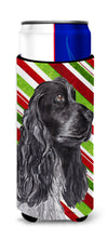 Cocker Spaniel Candy Cane Christmas Ultra Beverage Insulators for slim cans by Caroline's Treasures