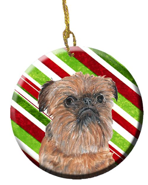 Buy this Brussels Griffon Candy Cane Christmas Ceramic Ornament SC9614CO1