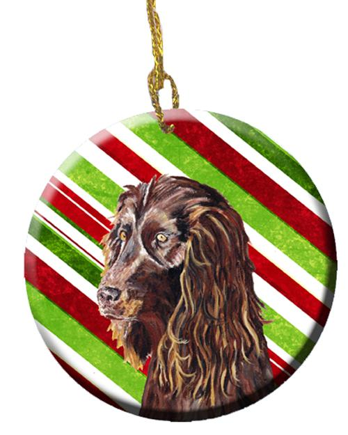 Buy this Boykin Spaniel Candy Cane Christmas Ceramic Ornament SC9616CO1