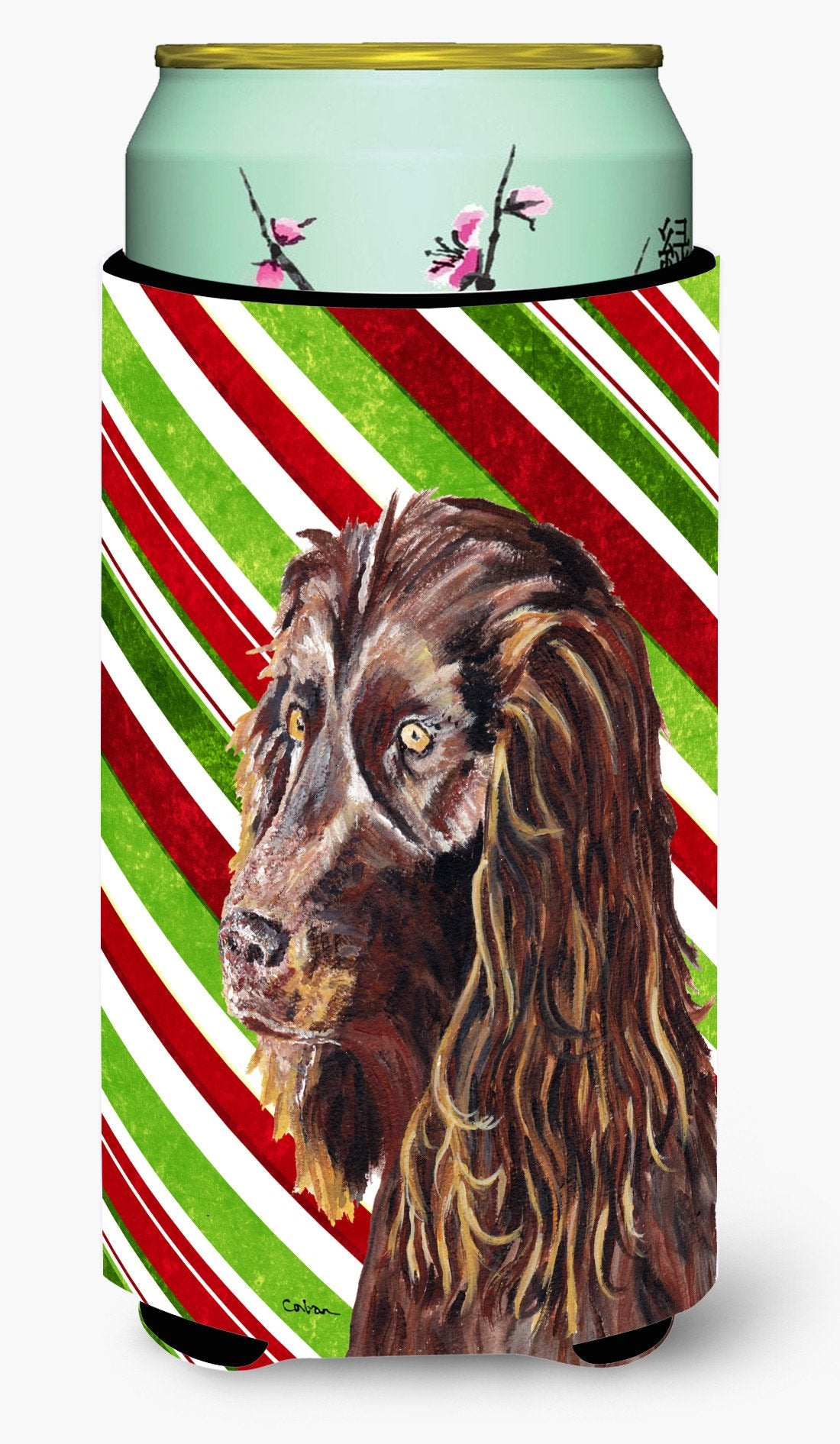 Boykin Spaniel Candy Cane Christmas Tall Boy Beverage Insulator Beverage Insulator Hugger by Caroline's Treasures