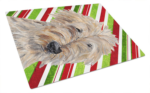 Buy this Goldendoodle Candy Cane Christmas Glass Cutting Board Large
