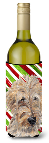 Buy this Goldendoodle Candy Cane Christmas Wine Bottle Beverage Insulator Beverage Insulator Hugger