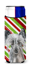 Chinese Crested Candy Cane Christmas Ultra Beverage Insulators for slim cans by Caroline's Treasures