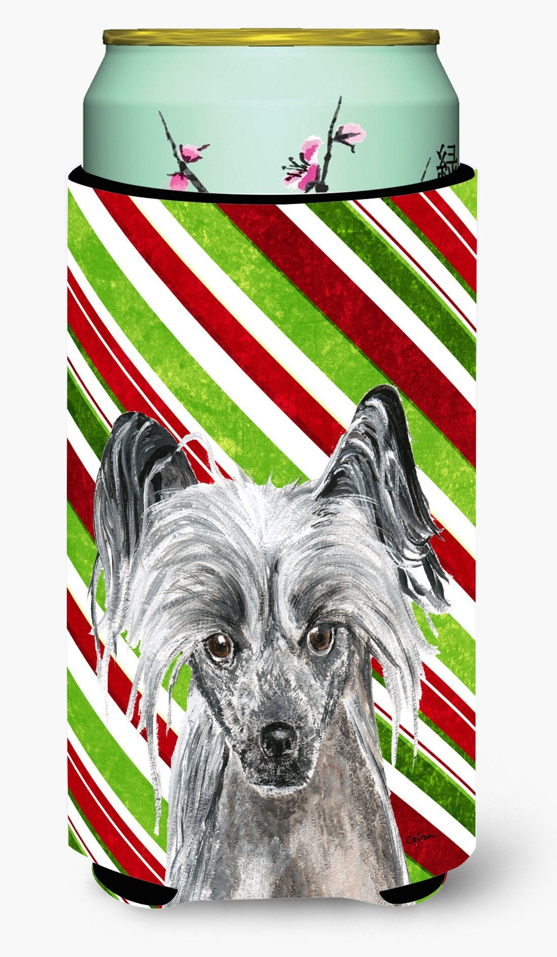 Chinese Crested Candy Cane Christmas Tall Boy Beverage Insulator Beverage Insulator Hugger by Caroline's Treasures
