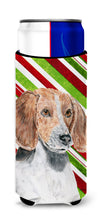 English Foxhound Candy Cane Christmas Ultra Beverage Insulators for slim cans by Caroline's Treasures