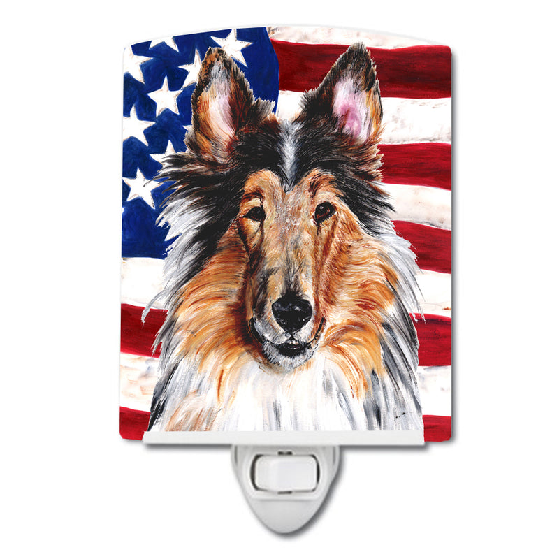 Buy this Collie with American Flag USA Ceramic Night Light SC9622CNL