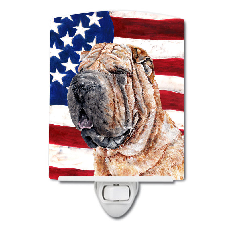 Buy this Shar Pei with American Flag USA Ceramic Night Light SC9623CNL