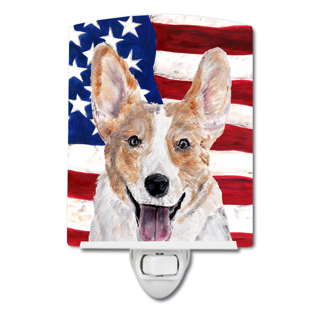 Buy this Cardigan Corgi with American Flag USA Ceramic Night Light SC9624CNL
