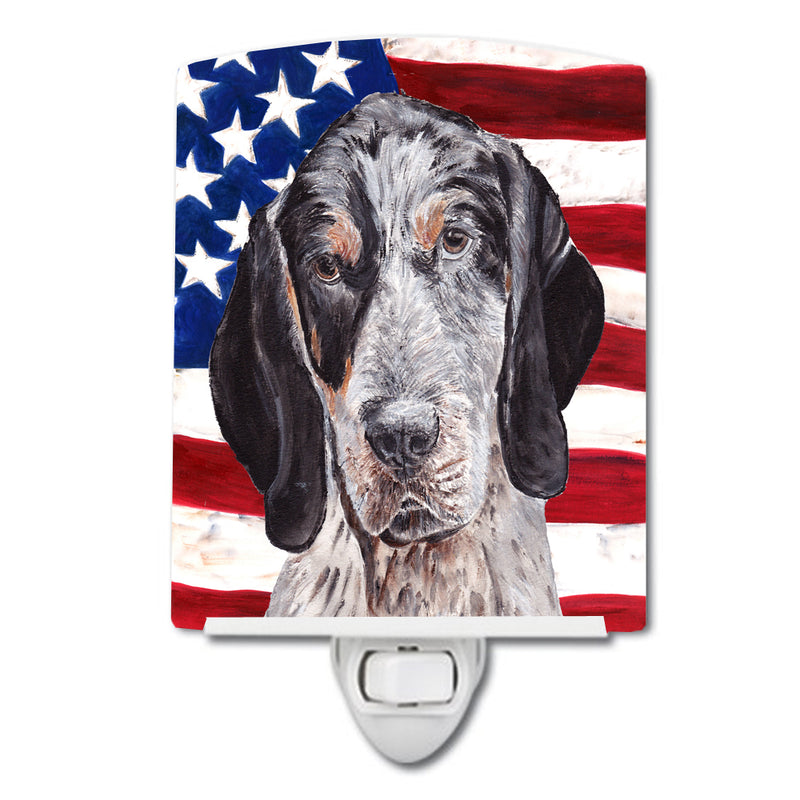 Buy this Blue Tick Coonhound with American Flag USA Ceramic Night Light SC9625CNL