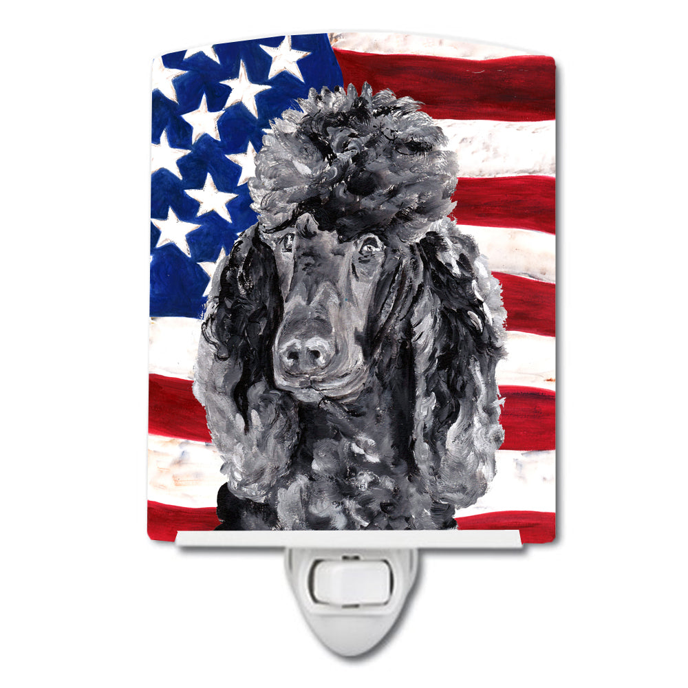 Buy this Black Standard Poodle with American Flag USA Ceramic Night Light SC9626CNL