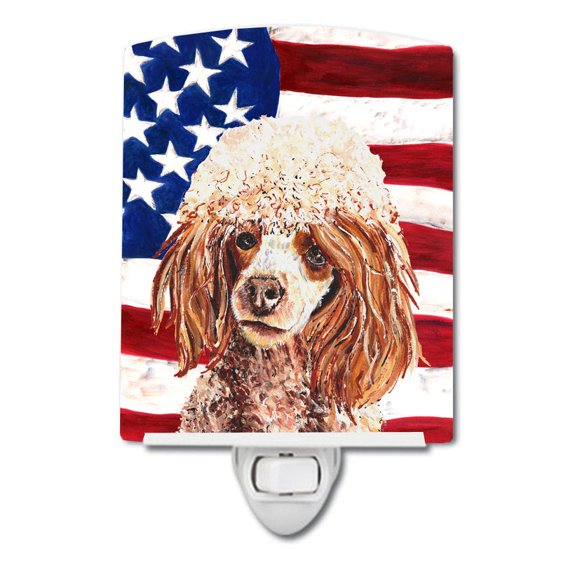 Buy this Red Miniature Poodle with American Flag USA Ceramic Night Light SC9627CNL