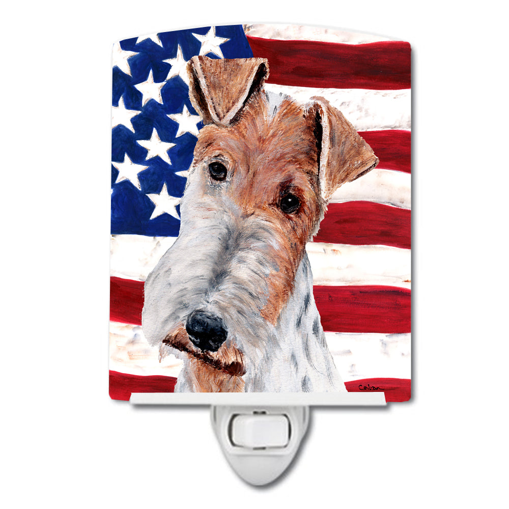 Buy this Wire Fox Terrier with American Flag USA Ceramic Night Light SC9628CNL