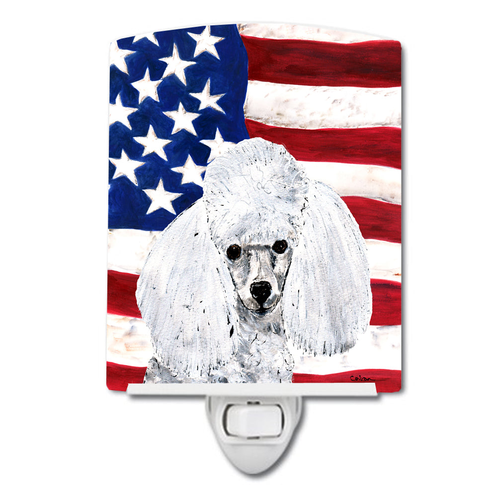Buy this White Toy Poodle with American Flag USA Ceramic Night Light SC9629CNL