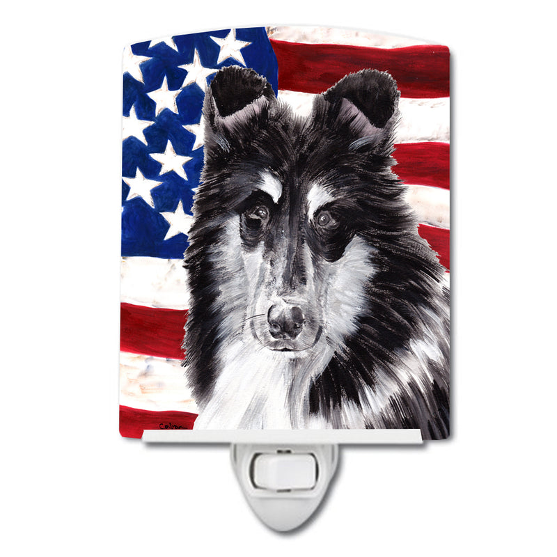 Buy this Black and White Collie with American Flag USA Ceramic Night Light SC9630CNL
