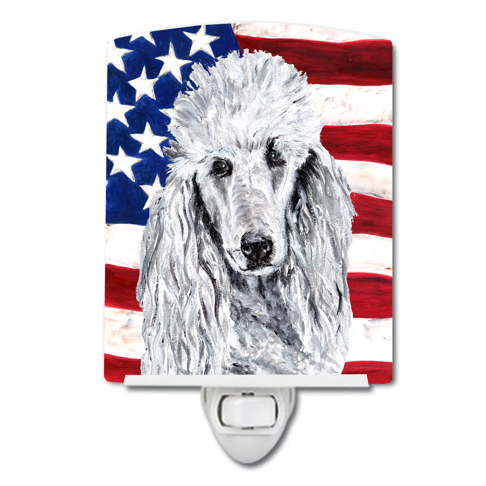 Buy this White Standard Poodle with American Flag USA Ceramic Night Light SC9631CNL