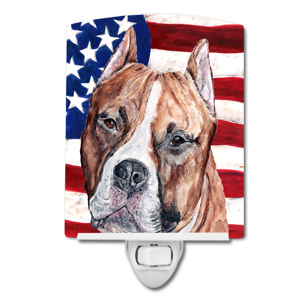 Buy this Staffordshire Bull Terrier Staffie with American Flag USA Ceramic Night Light SC9632CNL