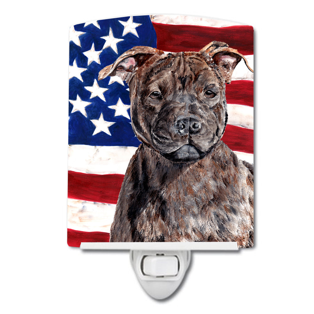 Buy this Staffordshire Bull Terrier Staffie with American Flag USA Ceramic Night Light SC9633CNL