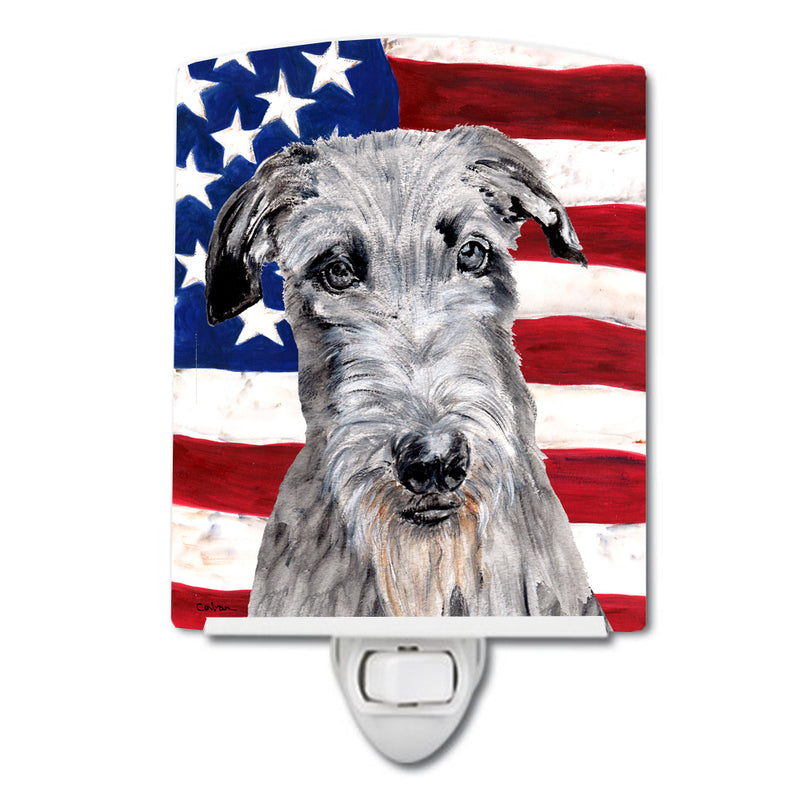 Buy this Scottish Deerhound with American Flag USA Ceramic Night Light SC9634CNL