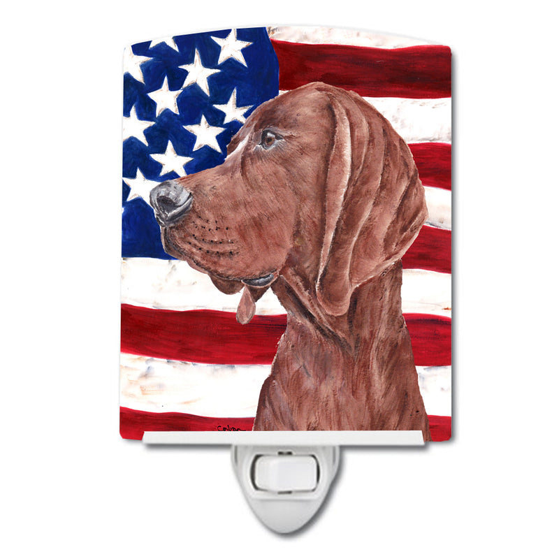 Buy this Redbone Coonhound with American Flag USA Ceramic Night Light SC9635CNL