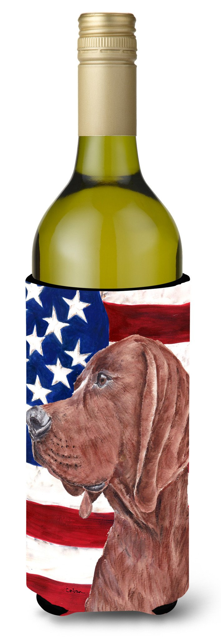 Redbone Coonhound with American Flag USA Wine Bottle Beverage Insulator Hugger SC9635LITERK by Caroline's Treasures