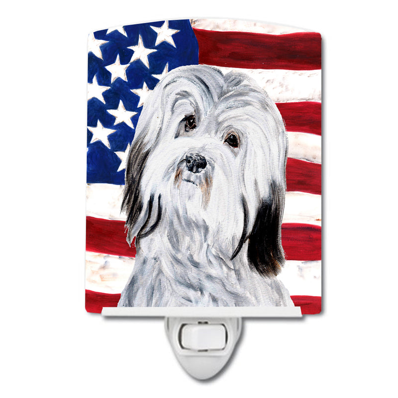 Buy this Havanese with American Flag USA Ceramic Night Light SC9641CNL