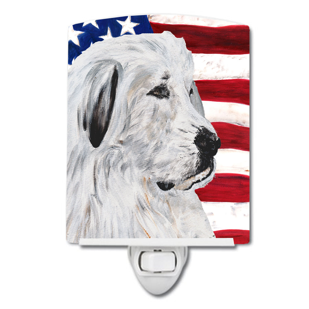Great Pyrenees with American Flag USA Ceramic Night Light SC9642CNL by Caroline's Treasures