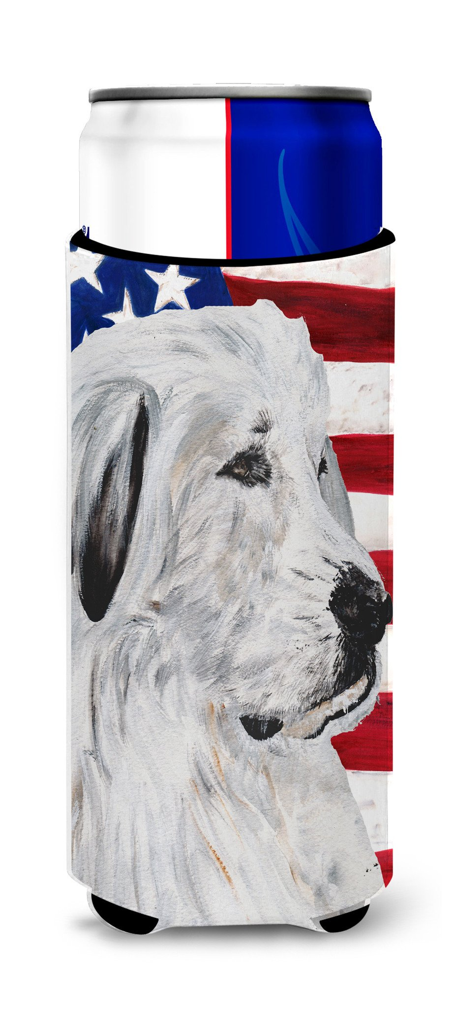 Great Pyrenees with American Flag USA Ultra Beverage Insulators for slim cans SC9642MUK by Caroline's Treasures