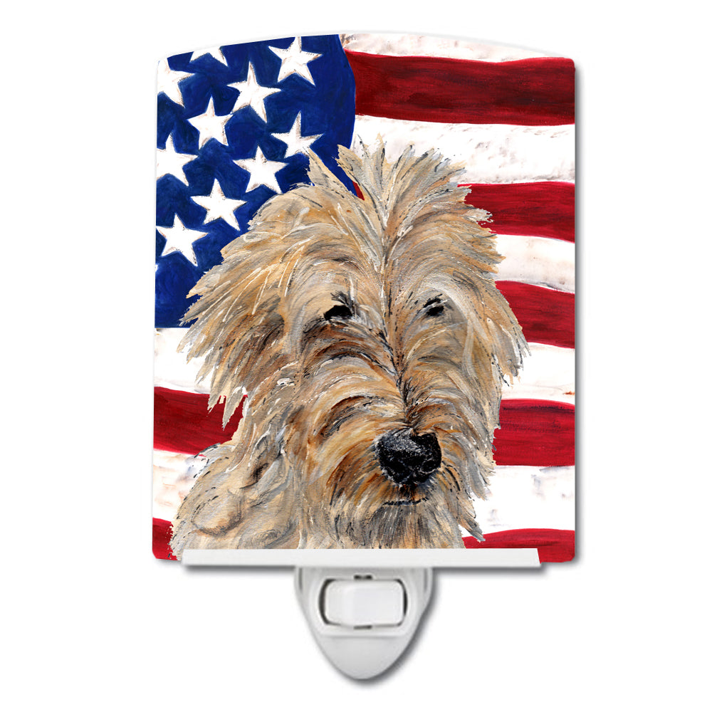 Buy this Golden Doodle 2 with American Flag USA Ceramic Night Light SC9643CNL