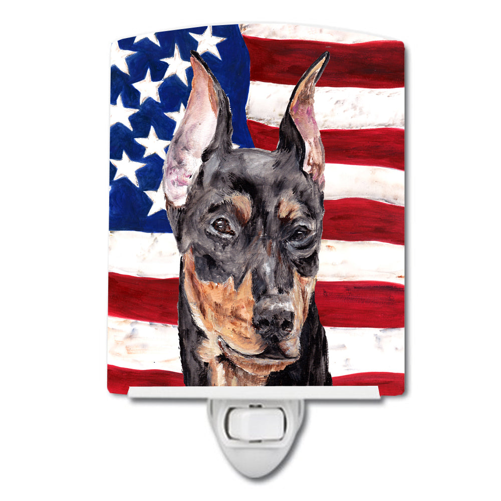 Buy this German Pinscher with American Flag USA Ceramic Night Light SC9644CNL