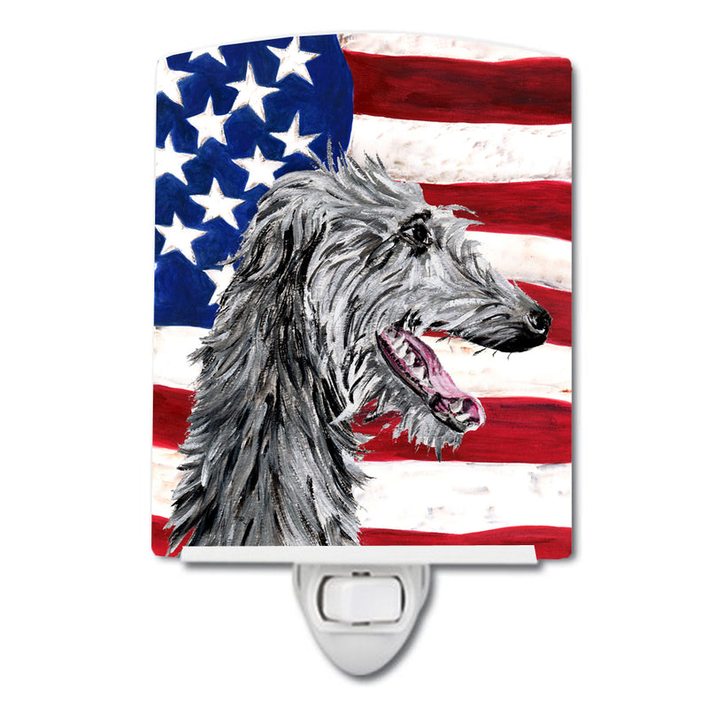 Buy this Scottish Deerhound with American Flag USA Ceramic Night Light SC9645CNL