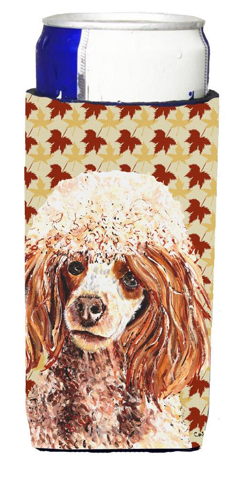 Red Miniature Poodle Fall Leaves Ultra Beverage Insulators for slim cans SC9675MUK by Caroline's Treasures