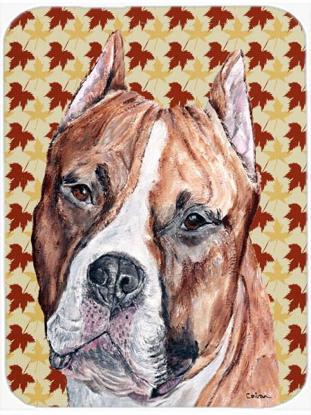 Staffordshire Bull Terrier Staffie Fall Leaves Glass Cutting Board Large Size SC9680LCB by Caroline's Treasures