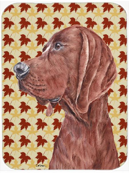 Redbone Coonhound Fall Leaves Glass Cutting Board Large Size SC9683LCB by Caroline's Treasures