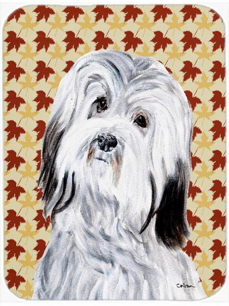 Havanese Fall Leaves Glass Cutting Board Large Size SC9689LCB by Caroline's Treasures