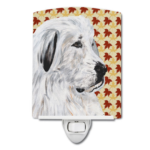 Buy this Great Pyrenees Fall Leaves Ceramic Night Light SC9690CNL