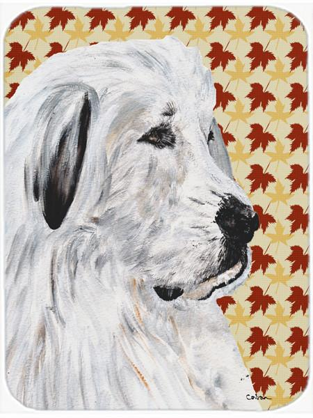 Great Pyrenees Fall Leaves Glass Cutting Board Large Size SC9690LCB by Caroline's Treasures