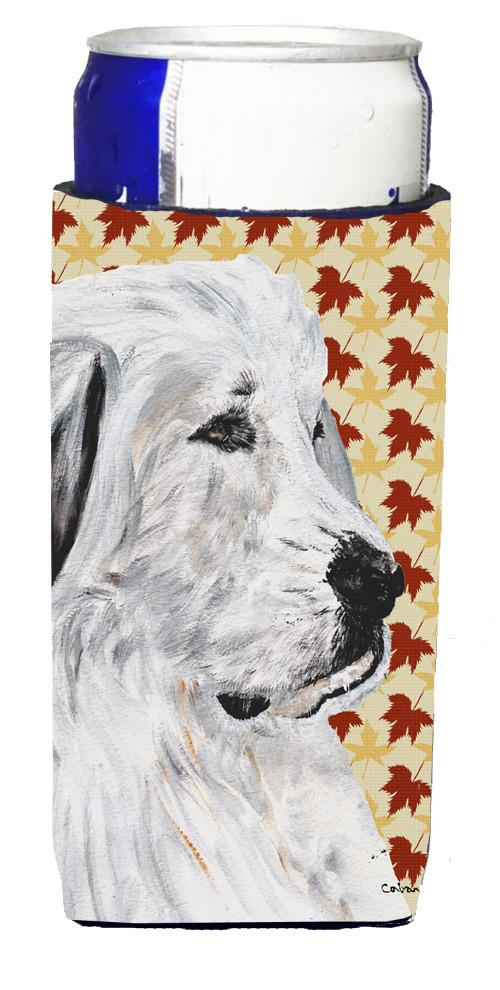 Great Pyrenees Fall Leaves Ultra Beverage Insulators for slim cans SC9690MUK by Caroline's Treasures