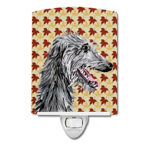 Buy this Scottish Deerhound Fall Leaves Ceramic Night Light SC9693CNL