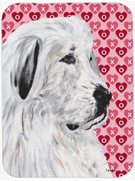 Great Pyrenees Hearts and Love Glass Cutting Board Large Size SC9714LCB by Caroline's Treasures