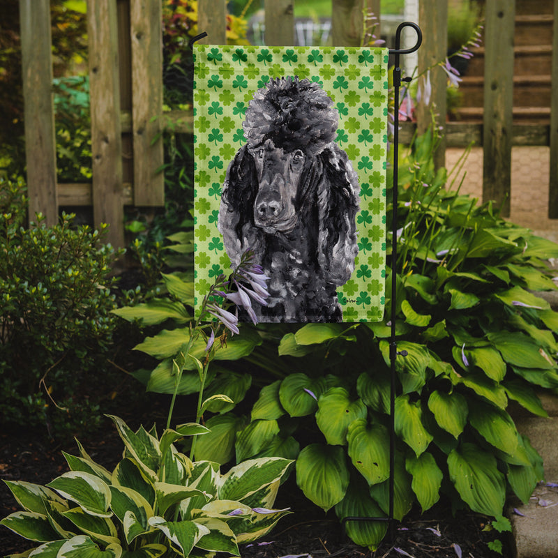 Buy this Black Standard Poodle Lucky Shamrock St. Patrick's Day Flag Garden Size SC9722GF
