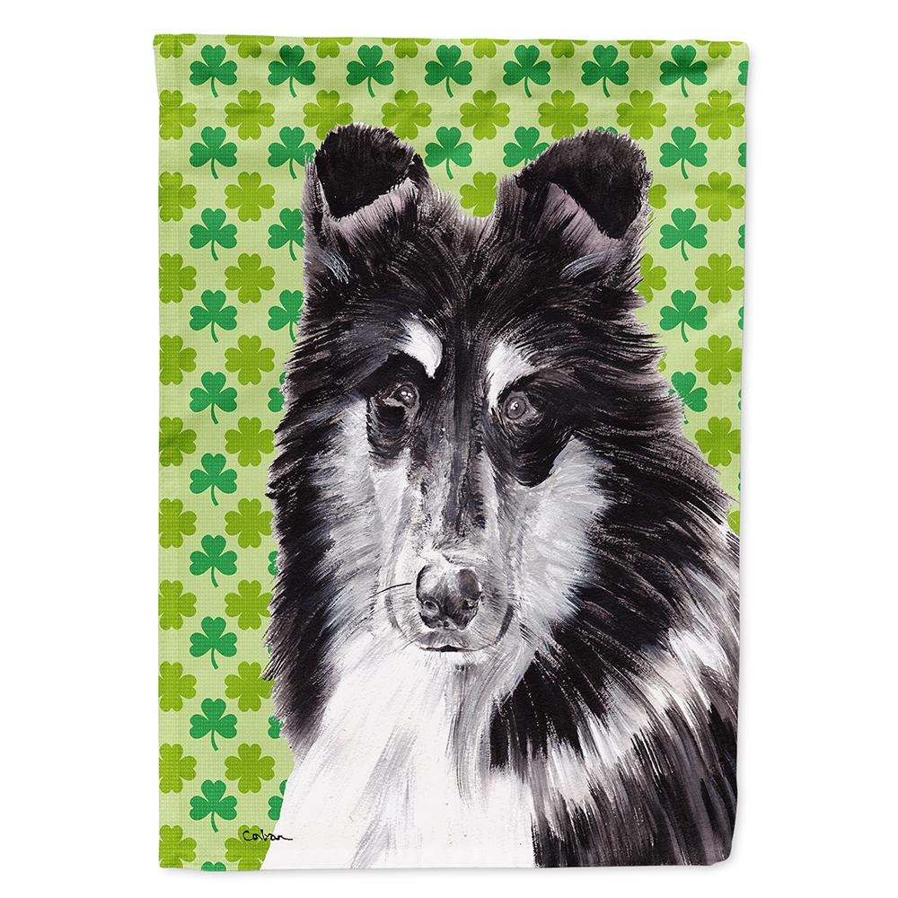 Buy this Black and White Collie Lucky Shamrock St. Patrick's Day Flag Garden Size