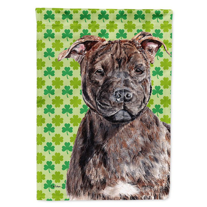 Buy this Staffordshire Bull Terrier Staffie Lucky Shamrock St. Patrick's Day Flag Garden Size