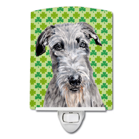 Buy this Scottish Deerhound Lucky Shamrock St. Patrick's Day Ceramic Night Light SC9730CNL