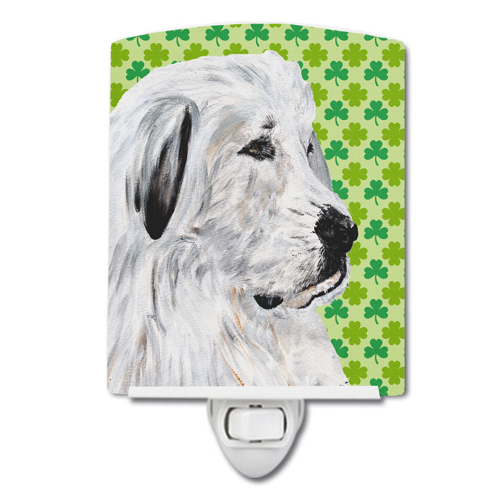 Great Pyrenees Lucky Shamrock St. Patrick's Day Ceramic Night Light SC9738CNL by Caroline's Treasures
