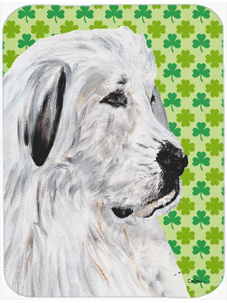 Great Pyrenees Lucky Shamrock St. Patrick's Day Glass Cutting Board Large Size SC9738LCB by Caroline's Treasures