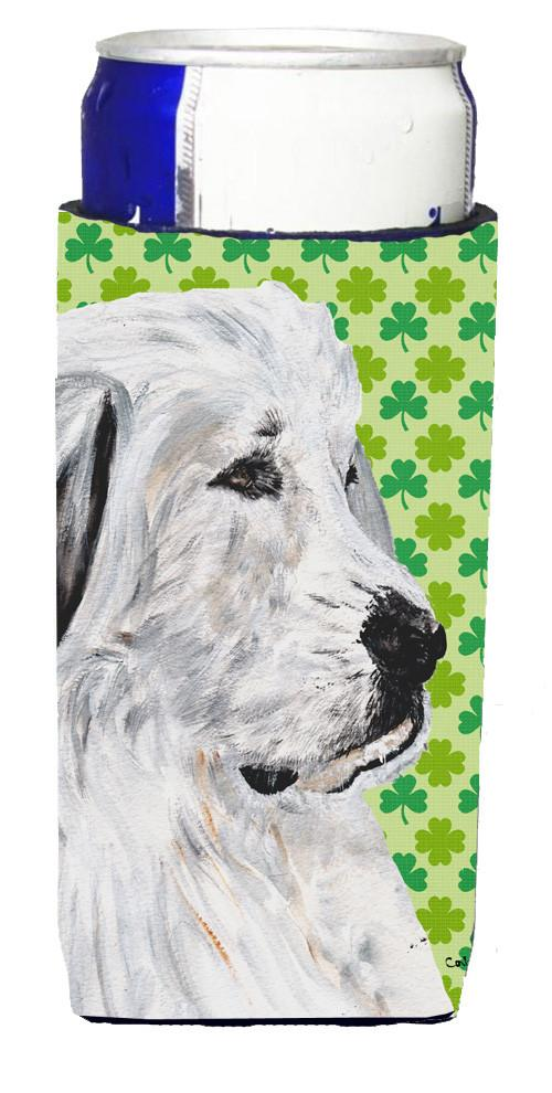 Great Pyrenees Lucky Shamrock St. Patrick's Day Ultra Beverage Insulators for slim cans SC9738MUK by Caroline's Treasures