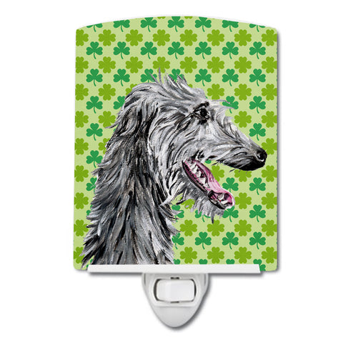 Buy this Scottish Deerhound Lucky Shamrock St. Patrick's Day Ceramic Night Light SC9741CNL