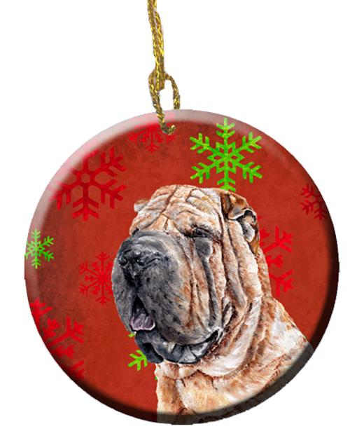 Shar Pei Red Snowflakes Holiday Ceramic Ornament SC9743CO1 by Caroline's Treasures