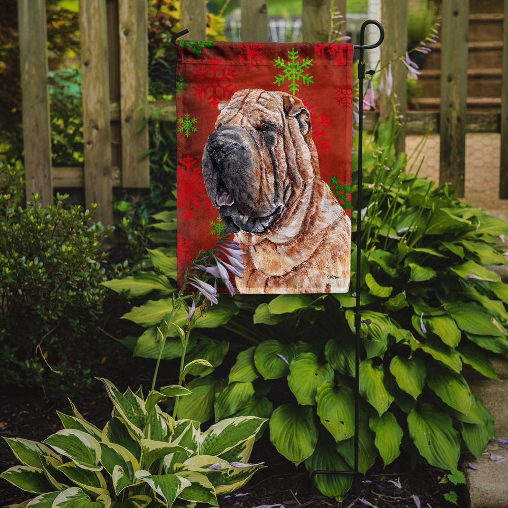 Shar Pei Red Snowflakes Holiday Flag Garden Size SC9743GF by Caroline's Treasures