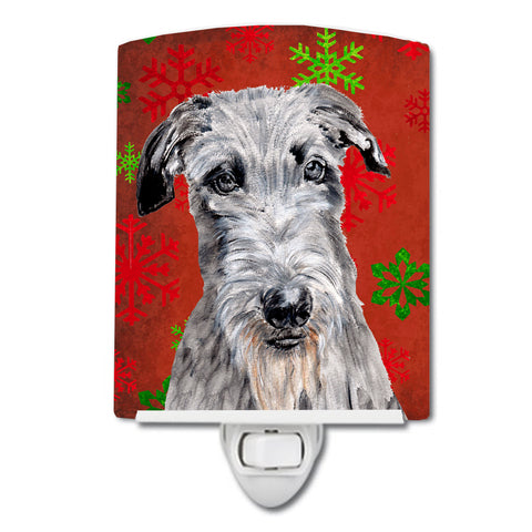 Buy this Scottish Deerhound Red Snowflakes Holiday Ceramic Night Light SC9754CNL